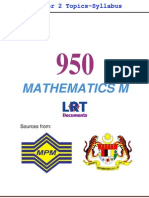 950 Math M [PPU] Semester 2 Topics-Syllabus