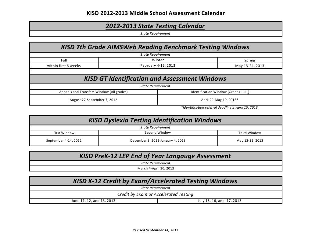 Middle School 12 13 Assessment Calendar Revised 9 14 12 Middle