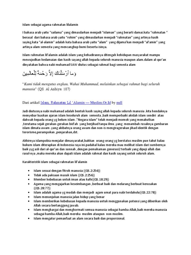 Islam Sebagai Agama Rahmatan Lilalamin