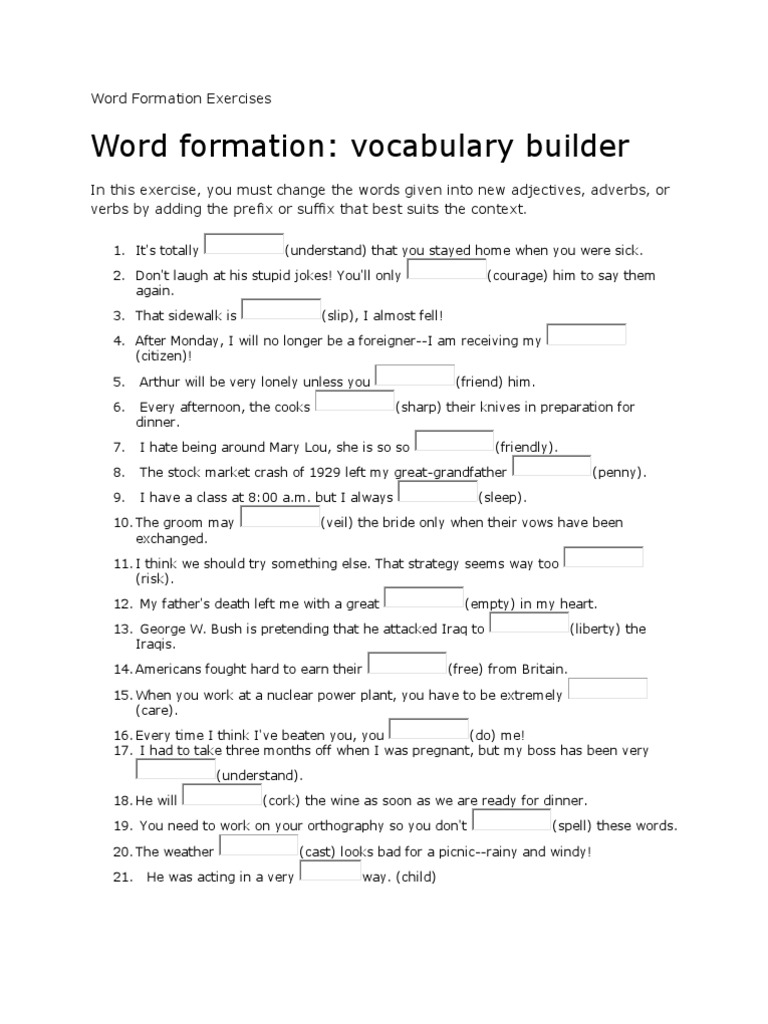 Word Formation Exercises