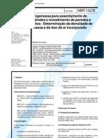 Argamassa Para Assentamento de Paredes e Revestimento de Paredes e Tetos NBR 13278 - 1995
