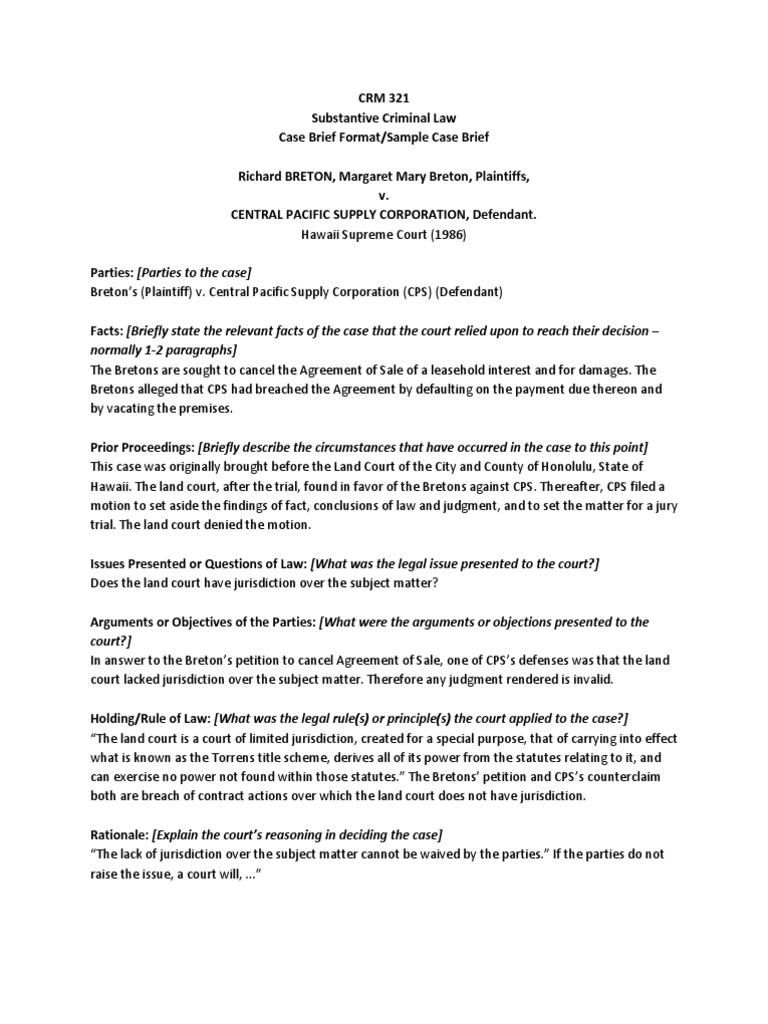 Sample Case Brief Template from imgv2-2-f.scribdassets.com