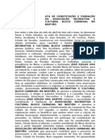 ATA DE CONSTITUIÇÃO DO BLOCO CARNAVAL NO BASTIÃO