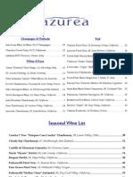Azurea Wine List