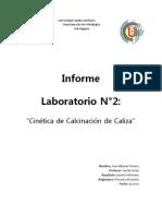 Informe 2 Cinética de calcinación de caliza