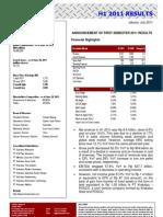 Ir Ptks 1h2011 Results