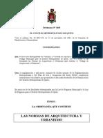 Normas Arquitectura y Urbanismo MDMQ