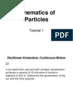1. Rectilinear Kinematics (Continuous Motion)
