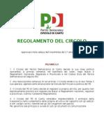 Regolamento Interno del Circolo PD Cantù