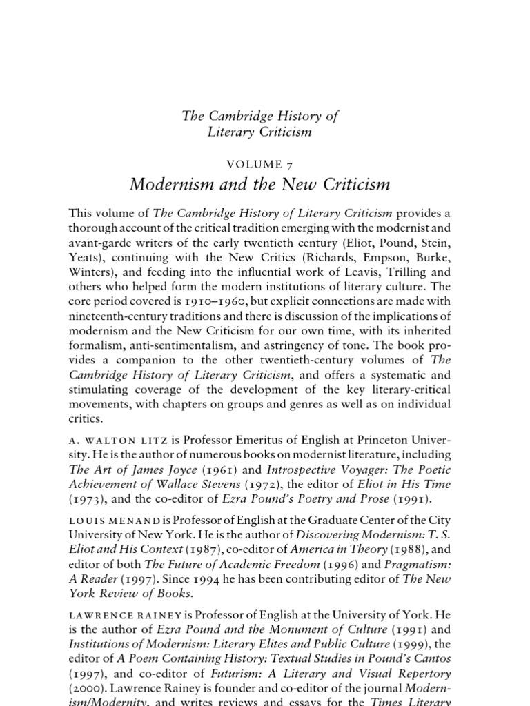 The Cambridge History of Literary Criticism, Volume 7 | Literary ...
