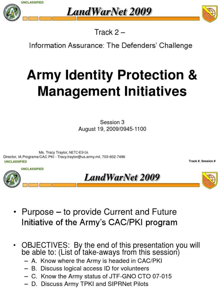 Army Pki Slides On Cac Cards Public Key Certificate Smart Card