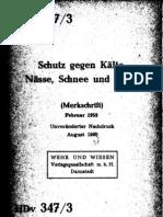 HDv 347-3 Schutz gegen Kälte, Nässe, Schnee und Wind (Merkschrift) (Feb 1958)
