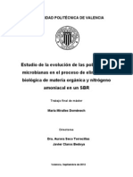 Estudio de la evolución de las poblaciones microbianas en el proceso de eliminación biológica de materia orgánica y nitrógeno amoniacal en un SBR