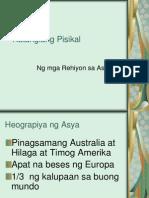Katangiang Pisikal: Ng mga Rehiyon sa Asya