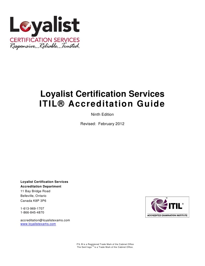 Itilac 001 Lcs Itil Accreditation Guide 9th Edition Rev 6
