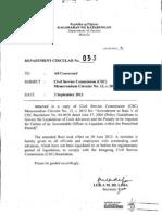 Department Circular Series of 2012