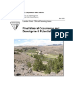 Mineral Occurrence and Development Report, Lander Field Office Planning Area, April 2009