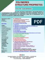 Formation Continue Polymères Relations Structures-propriétés 2013