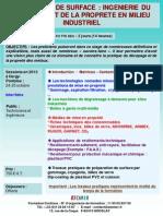Formation Continue Traitement de Surface Ingénièrie Du Décapage Et de La Propreté 2013