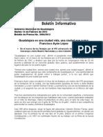 14-02-2012 Guadalajara es una ciudad vida, una ciudad que suma; Francisco Ayón López