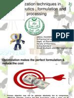 Optimization in Pharmaceutics & Processing