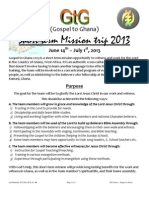 Ghana 2013 Mission trip info Pack
