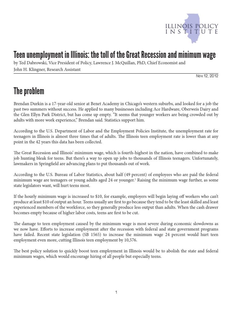 Teen Unemployment Minimum Wage Unemployment