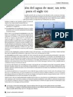 Unidad 3 Desalinización del agua de mar; un reto para el siglo XXI (lectura)