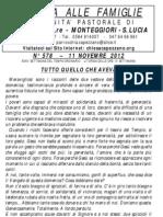 Lettera alle Famiglie - 11 novembre 2012