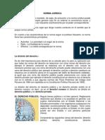 Norma jurídica y división del derecho