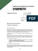 Préavis de grève du SYNAPOSTES [09/11/2012]