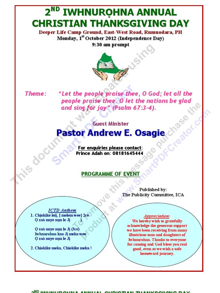 2nd Iwhnurohna Thxgvg PROGRAMME 2012   Christian Denomination   Igbo