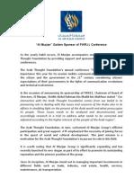 """Al Murjan"" Golden Sponsor of FIKR11 Conference"