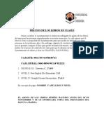 PRECIO DE LIBROS DE CLASE PARA EMPADRONADOS AÑORA