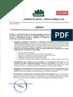Adhesión CEAPA apoyo HUELGA GENERAL 14 NOVIEM de 2012