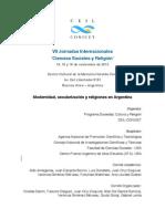 Resumen Programa VII Jornadas Ciencias Sociales y Religion
