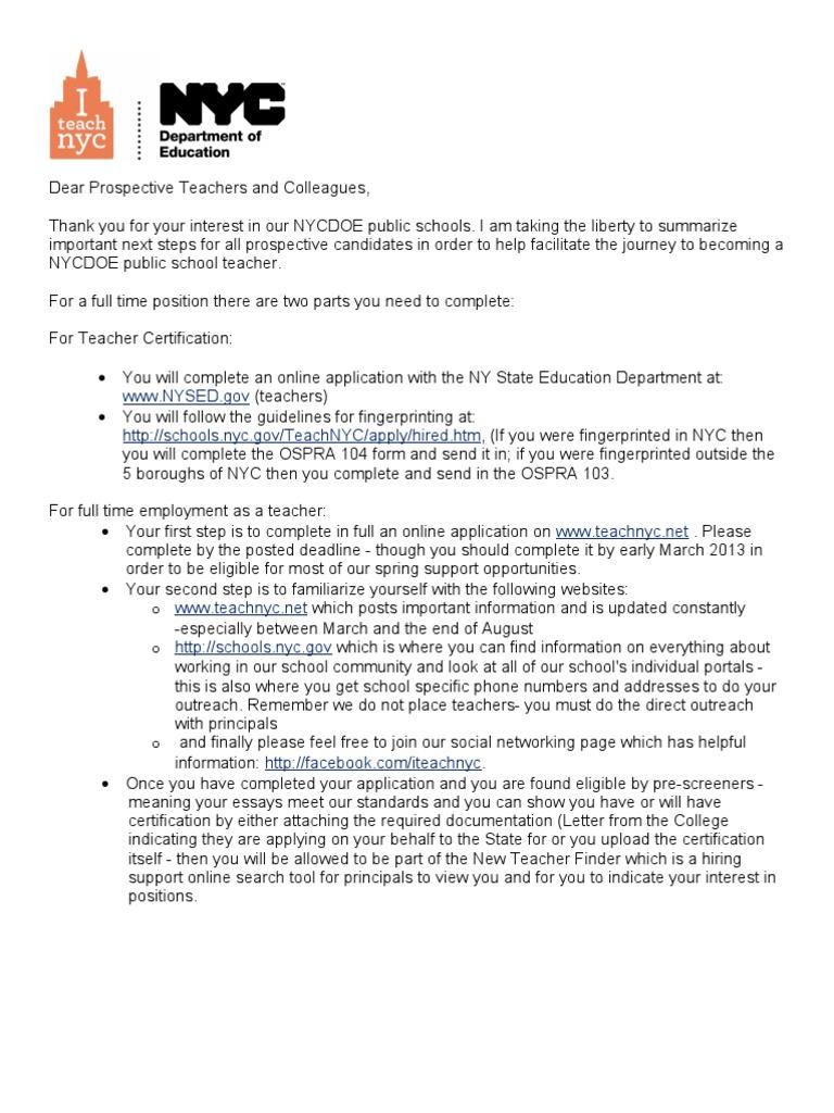 Nycdoe Hiring Season 2013 2014 Next Steps Recruitment Teachers