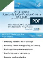2014 Edition Standards & Certification Criteria Final Rule
