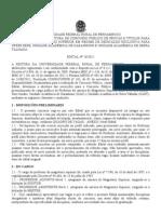 EDITAL 26-2012 UFRPE Concurso Docente