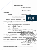 11072012 - Defendant / Plaintff - Agreed Order Compelling Discovery - Kingston vs Adelman, Dallas County, Texas - DC1210604