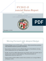 First Financial Status Report 11.13.12