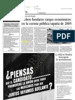20-06-2006 Deben fundarse cargos económicos en la cuenta pública tapatía 2005