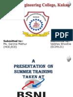 BSNL Summer Training Presentation
