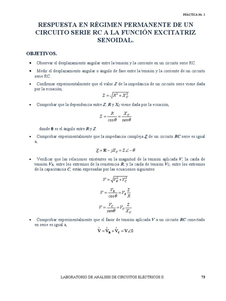 Circuito Z : P3 respuesta en rÉgimen permanente de un circuito serie rc a la