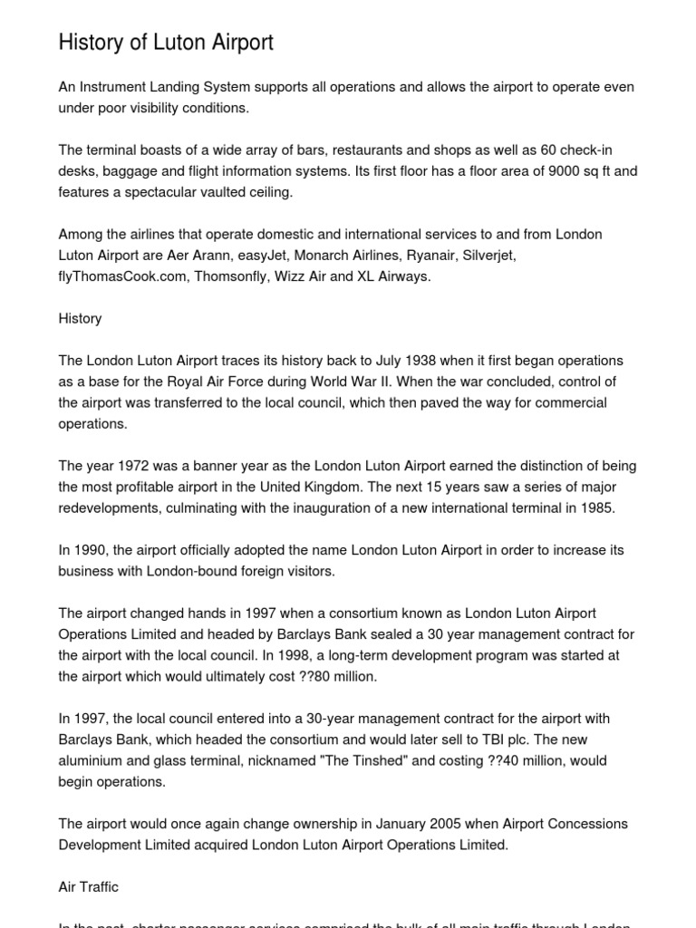 History Of Luton Airport20121114080846 Airport Airlines