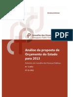 conselho das finanças públicas 2012_relatório, análise da proposta de orçamento do estado para 2013