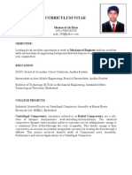 Musharrif Ali Khan - Mechanical Engineer CV