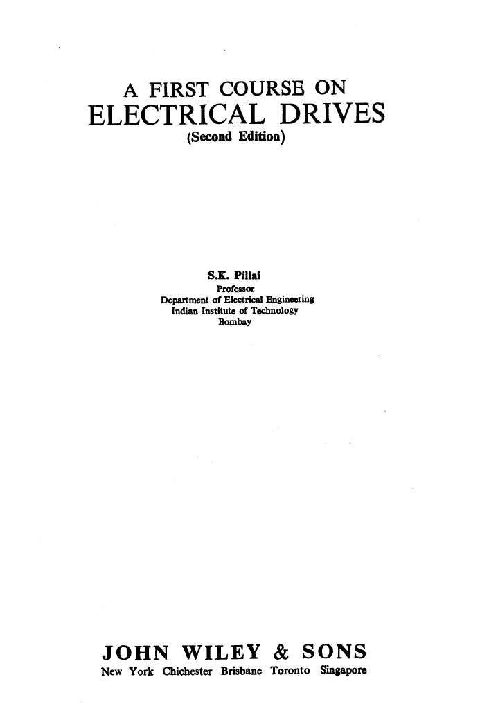 s k pillai a first course on electrical drives rh scribd com