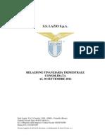 SS Lazio, Trimestrale 2012 (30.09.2012)
