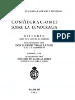 Vegas Latapie - Consideraciones Sobre La Democracia